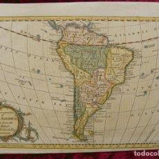 Arte: MAPA DE AMÉRICA DEL SUR, 1765. VAUGONDY/ FENINNIG/CROWDER/ROLLOS. Lote 149453732
