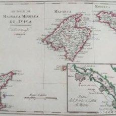 Arte: MAPA ANTIGUO BALEARES MALLORCA MENORCA IBIZA 1817 CON CERTIF. AUTENT. MAPAS ANTIGUOS BALEARES. Lote 149455066