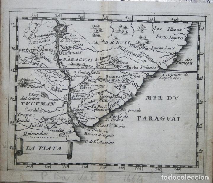 MAPA DE URUGUAY, ARGENTINA, BRASIL,..(AMÉRICA DEL SUR), 1664. PIERRE DU VAL (Arte - Cartografía Antigua (hasta S. XIX))