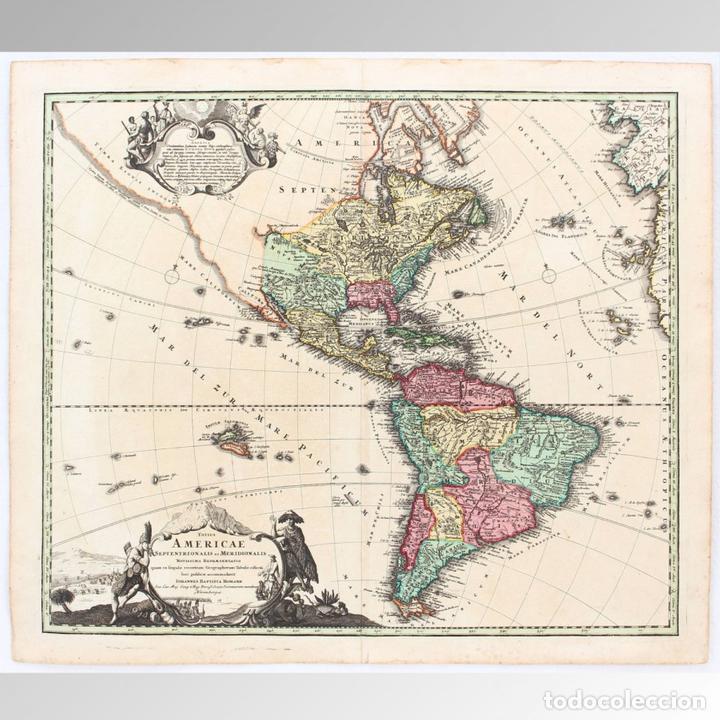 Arte: MAPA DE ÁMERICA (1720) - J. B. Homann - Foto 2 - 149949330