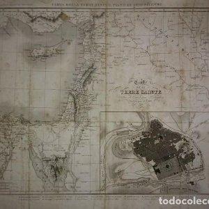 1837 Mapa de la tierra santa y plano de Jerusalén. P.Tardieu. Carte de la Terre Sainte