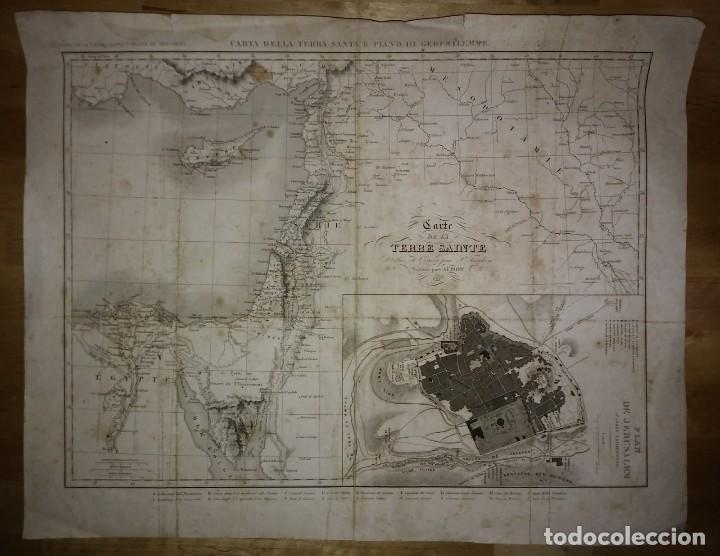 1837 Mapa de la tierra santa y plano de Jerusalén. P.Tardieu. Carte de la Terre Sainte - 117586135