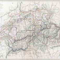 Arte: MAPA DE SUIZA POR LOUIS DUSSIEUX. GRABADO AL ACERO, COLOREADO A MANO, 1846. CARTOGRAFÍA, CARTA. Lote 56557497