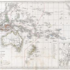 Arte: CARTA GENERAL DE OCEANÍA POR L. DUSSIEUX. GRABADO AL ACERO, COLOREADO A MANO, 1846. MAPA CARTOGRAFÍA. Lote 151148734