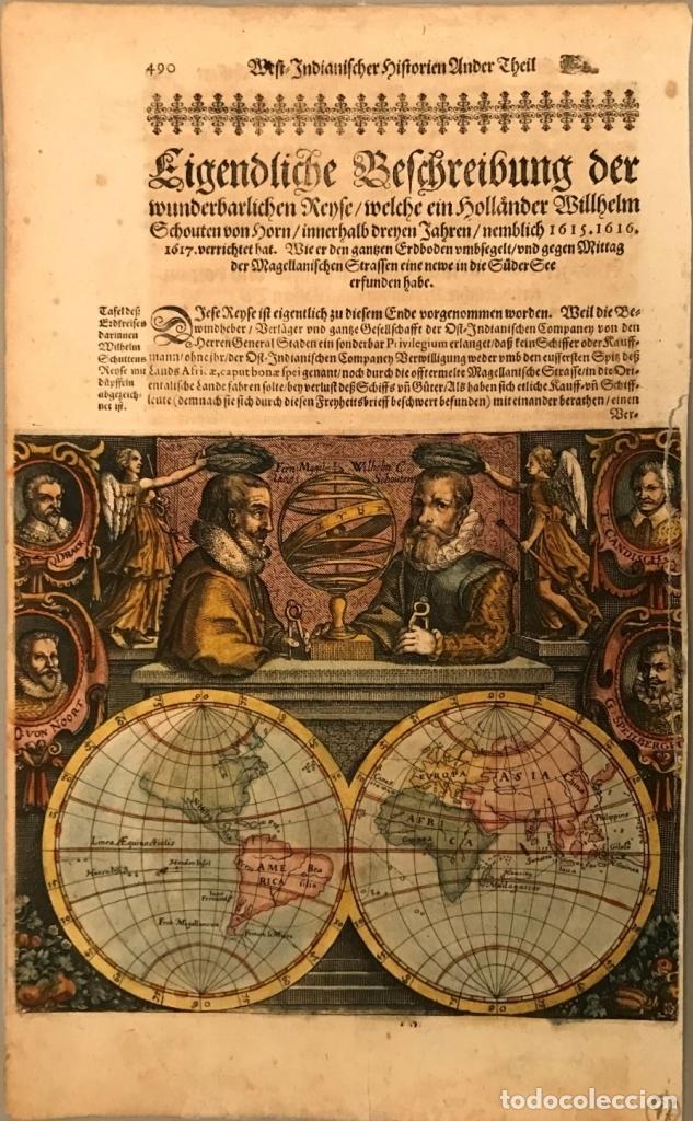 MAPA DEL MUNDO Y SUS HEMISFERIOS, 1617. T. DE BRY (Arte - Cartografía Antigua (hasta S. XIX))