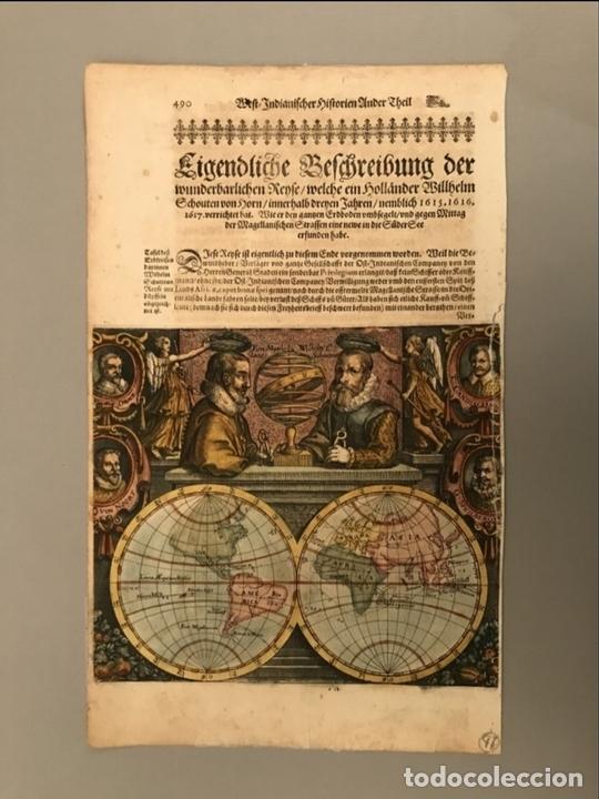 Arte: Mapa del mundo y sus hemisferios, 1617. T. de Bry - Foto 2 - 151332434