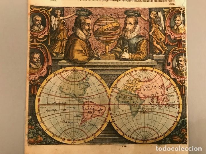 Arte: Mapa del mundo y sus hemisferios, 1617. T. de Bry - Foto 4 - 151332434