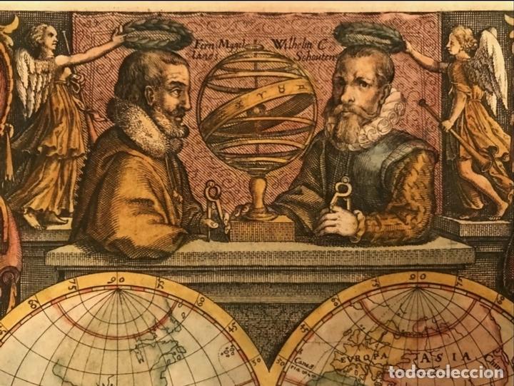 Arte: Mapa del mundo y sus hemisferios, 1617. T. de Bry - Foto 5 - 151332434