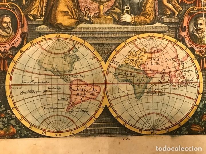 Arte: Mapa del mundo y sus hemisferios, 1617. T. de Bry - Foto 6 - 151332434