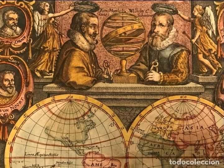 Arte: Mapa del mundo y sus hemisferios, 1617. T. de Bry - Foto 7 - 151332434