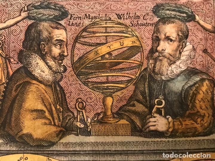 Arte: Mapa del mundo y sus hemisferios, 1617. T. de Bry - Foto 8 - 151332434