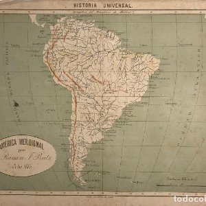 1885 Mapa América Meridional por D. Ramon F. Prats 36x27,5 cm