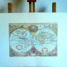 Arte: OLD MAP CREATED IN 1630 BY HENDRIK HONDIUS: NOVA TOTIUS TERRARUM ORBIS. Lote 151889306