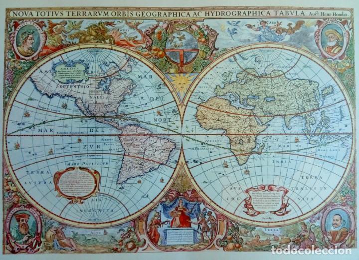 LÁMINA OLD MAP CREATED IN 1630 BY HENDRIK HONDIUS: NOVA TOTIUS TERRARUM ORBIS (Arte - Cartografía Antigua (hasta S. XIX))
