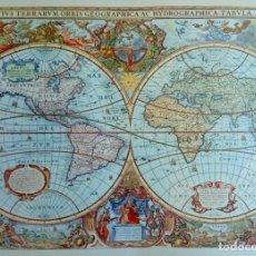Arte: LÁMINA OLD MAP CREATED IN 1630 BY HENDRIK HONDIUS: NOVA TOTIUS TERRARUM ORBIS. Lote 151889306