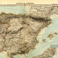 Arte: ESPAÑA PORTUGAL STIELERS HAND ATLAS NUM 32 35 X 47 CM 1895 . Lote 152183806