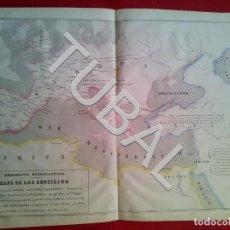 Arte: TUBAL 1852 MAPA DE LOS CONCILIOS + TEXTO EXPLICATIVO. Lote 152352626