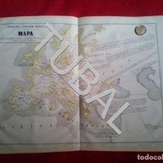 Arte: TUBAL 1852 MAPA EUROPA GEOGRAFÍA LITERARIO-MÉDICA + TEXTO EXPLICATIVO. Lote 152354430