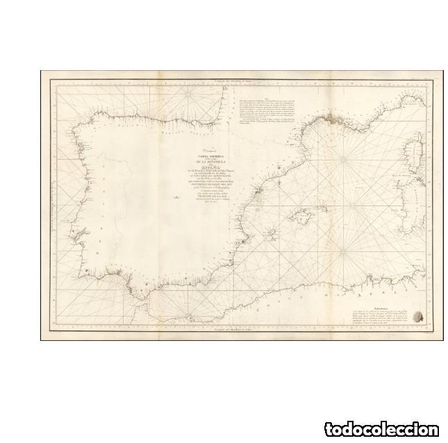 CARTA ESFERICA DE LAS COSTAS DE LA PENINSULA DE ESPAÑA LAS DE FRANCIA E ITALIA HASTA EL CABO VENERE, (Arte - Cartografía Antigua (hasta S. XIX))