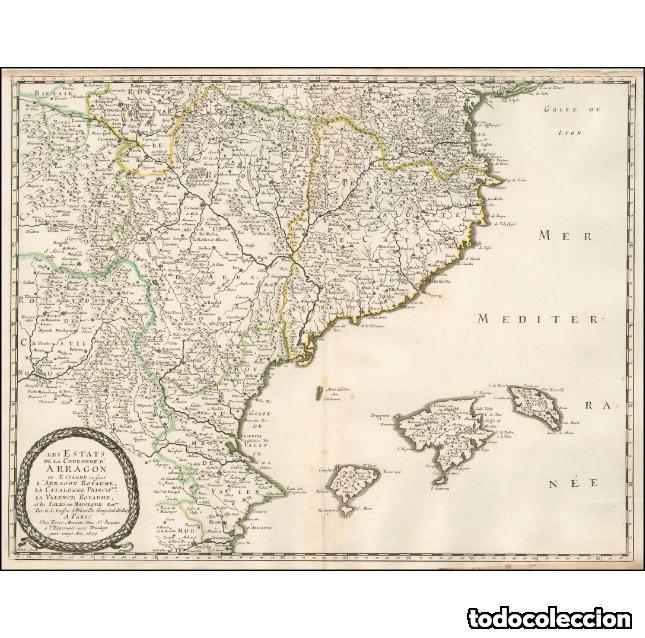 LES ETATS DE LA COURONNE D'ARRAGON EN ESPAGNE OU SONT L'ARRAGON ROYAUME, LA CATALOGNE PRINCIPTE, LA (Arte - Cartografía Antigua (hasta S. XIX))