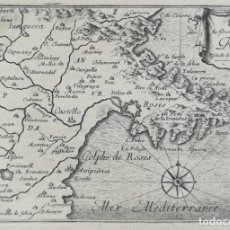 Arte: MAPA GRABADO DE ROSES Y ALREDEDORES - AMPURDA - BEAULIEU - AÑO 1707. Lote 152458398