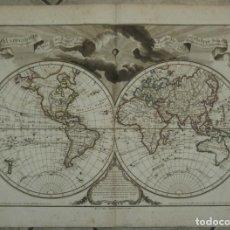 Arte: GRAN MAPA DEL MUNDO Y SUS HEMISFERIOS, 1798. DELISLE/BUACHE/DEZAUCHE. Lote 152462892