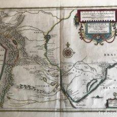 Arte: GRAN MAPA DE URUGUAY, PARAGUAY, ARGENTINA,.. 1635. JANSSONIUS BLAEU. Lote 152519369