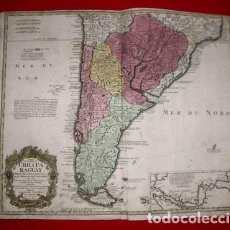 Arte: GRAN MAPA DE ARGENTINA, CHILE, URUGUAY, PARAGUAY, BOLIVIA,...1740. HOMANN HEIRS. Lote 152527425