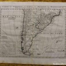 Arte: GRAN MAPA DE ARGENTINA, CHILE, URUGUAY,...(AMÉRICA DEL SUR), 1719. DELISLE/HENRI CHATELAIN. Lote 152536961