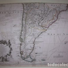 Arte: GRAN MAPA DE ARGENTINA, CHILE, URUGUAY, PARAGUAY, BOLIVIA,...1703. DELISLE. Lote 152573244