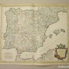 Arte: ROBERT DE VAUGONDY. ROYAUMES D'ESPAGNE ET DE PORTUGAL. 1750. MAPA ORIGINAL. Lote 152606218