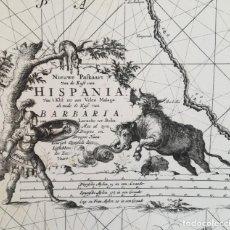Arte: MAPA GIBRALTAR CADIZ CEUTA MALAGA PEÑON DE VELEZ - KEULEN - AÑO 1682 - ES ORIGINAL. Lote 152881902