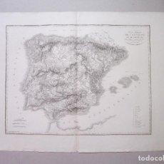 Arte: CARTE PHYSIQUE DE L'ESPAGNE ET DE PORTUGAL. ORIGINAL. BORY DE SAINT-VINCENT. LABORDE. Lote 153047278