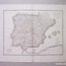Arte: CARTE POLITIQUE DE L'ESPAGNE ET DE PORTUGAL. ORIGINAL. BORY DE SAINT-VINCENT. LABORDE. Lote 153047434