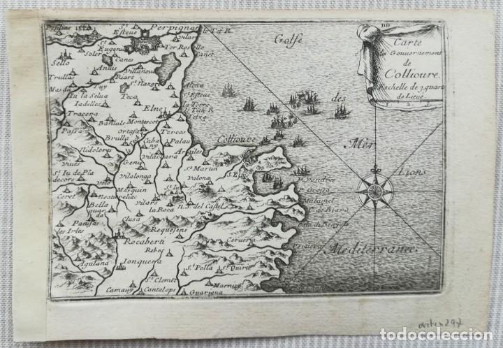 MAPA COLLIURE PERPIGNAN LA JONQUERA LLANSA - BEAULIEU - AÑO 1707 (Arte - Cartografía Antigua (hasta S. XIX))