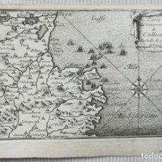 Arte: MAPA COLLIURE PERPIGNAN LA JONQUERA LLANSA - BEAULIEU - AÑO 1707. Lote 153811858