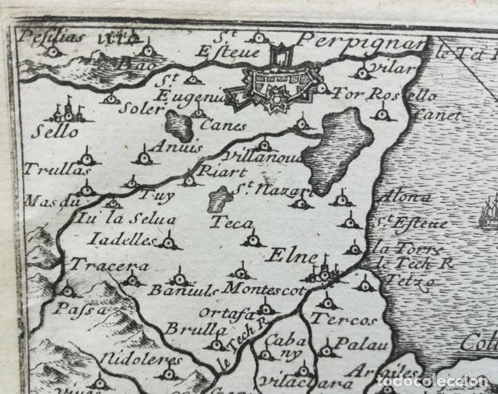 Arte: MAPA COLLIURE PERPIGNAN LA JONQUERA LLANSA - BEAULIEU - AÑO 1707 - Foto 2 - 153811858