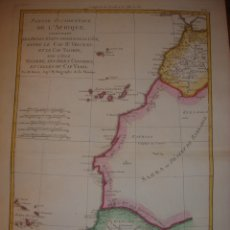 Arte: MAPA CANARIAS, COSTA OCCIDENTAL ÁFRICA, ORIGINAL, BONNE, PARIS 1787, EXCEPCIONAL COLOREADO. Lote 154024090