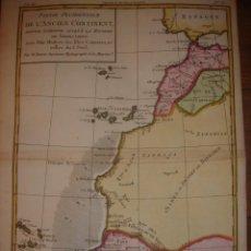 Arte: MAPA CANARIAS, COSTA OCCIDENTAL ÁFRICA, ORIGINAL, BONNE, PARIS 1770, EXCEPCIONAL COLOREADO. Lote 154025414