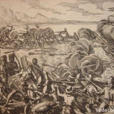 Arte: ESPLÉNDIDO GRABADO DESEMBARCO ESPAÑOL ISLA LA ESPAÑOLA, R. DOMINICANA, HAITÍ,ORIGINAL, DE BRY, 1619. Lote 154026002
