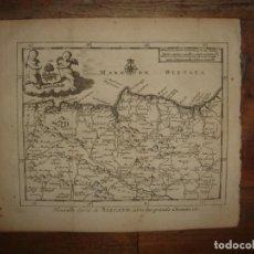 Arte: MAPA DE VIZCAYA, PAIS VASCO, 1715, ORIGINAL, LEIDEN, VAN DER AA, ESPLÉNDIDO ESTADO. Lote 154181834