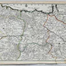 Arte: MAPA ASTURIAS SANTANDER PAIS VASCO NAVARRA ARAGON CASTILLA - AÑO 1705 - ES ORIGINAL. Lote 155082881