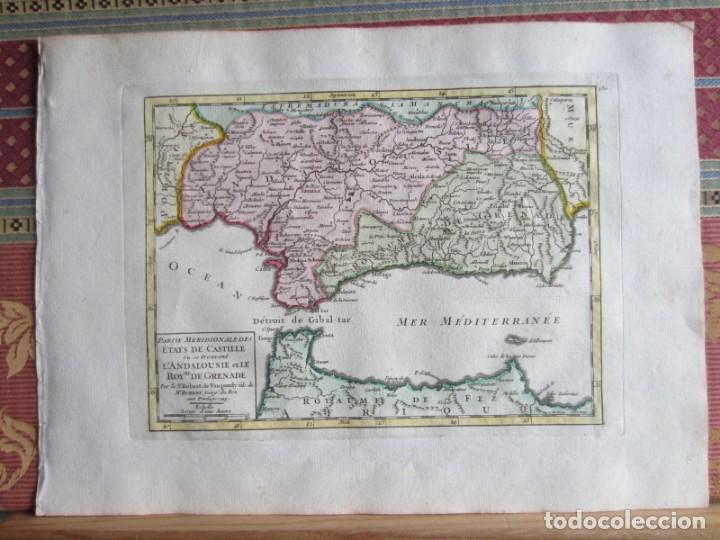1749-MAPA ORIGINAL.ANDALUCÍA.RONDA.ALAMA.ALCALA.JAEN.CAZORLA.ANDUJAR.ALMARÍA.SALOBREÑA.CEUTA.GUADIX. (Arte - Cartografía Antigua (hasta S. XIX))