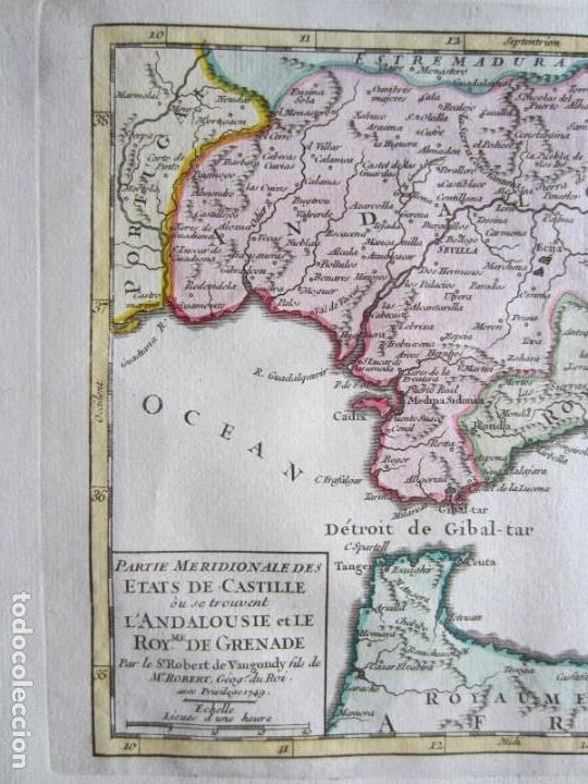 Arte: 1749-MAPA ORIGINAL.ANDALUCÍA.RONDA.ALAMA.ALCALA.JAEN.CAZORLA.ANDUJAR.ALMARÍA.SALOBREÑA.CEUTA.GUADIX. - Foto 2 - 155573198