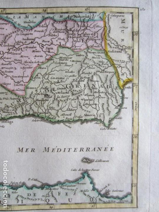 Arte: 1749-MAPA ORIGINAL.ANDALUCÍA.RONDA.ALAMA.ALCALA.JAEN.CAZORLA.ANDUJAR.ALMARÍA.SALOBREÑA.CEUTA.GUADIX. - Foto 4 - 155573198