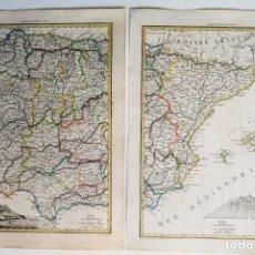 Arte: ESPAÑA Y PORTUGAL MAPA EN 2 HOJAS, LAPIE, 1812, ESPAGNE OCCIDENTALE ET PORTUGAL & ESPAGNE ORIENTALE. Lote 156151218