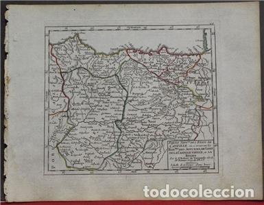 Arte: Mapa de Asturias, Cantabria, Pais Vasco, Castilla,...(España),1748. Robert de Vaugondy - Foto 2 - 156639497