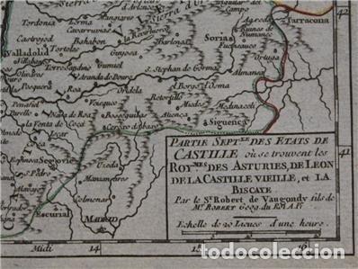 Arte: Mapa de Asturias, Cantabria, Pais Vasco, Castilla,...(España),1748. Robert de Vaugondy - Foto 3 - 156639497