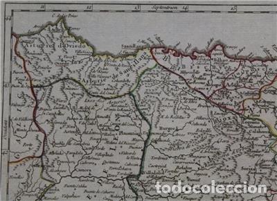 Arte: Mapa de Asturias, Cantabria, Pais Vasco, Castilla,...(España),1748. Robert de Vaugondy - Foto 4 - 156639497