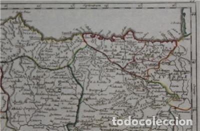 Arte: Mapa de Asturias, Cantabria, Pais Vasco, Castilla,...(España),1748. Robert de Vaugondy - Foto 5 - 156639497